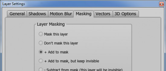 Masking settings for the eyes layer