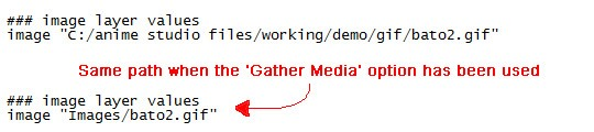 Inside the .anme file before and after the gather media option