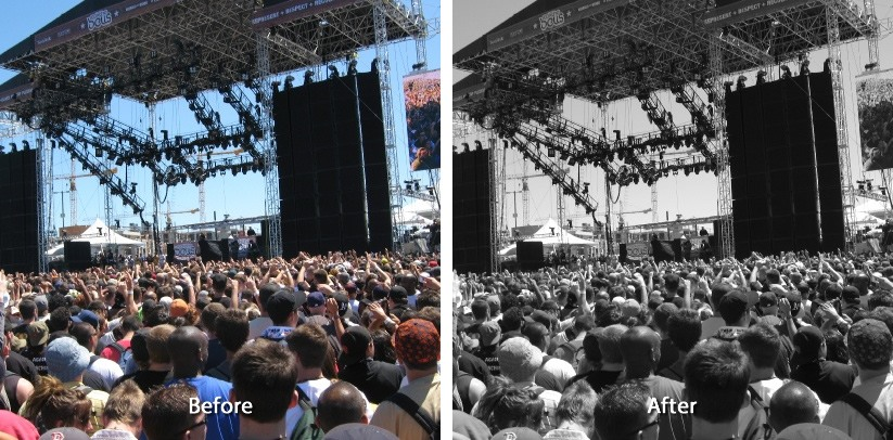 Before and after the effect