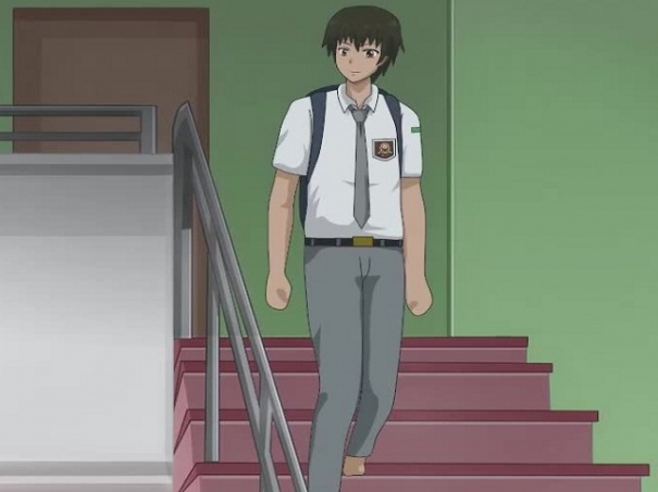 Anime walking down the stairs